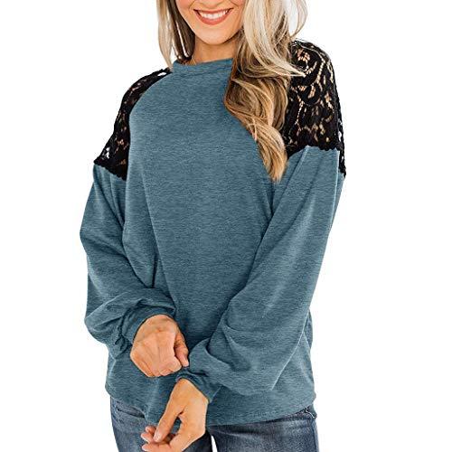 Bylater Long Sleeve Tops for Women Stylish Lace Raglan Sweatshirt Elegant Pullover Top Blouse(L.Blue)