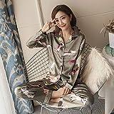 handaxian pigiama in seta a maniche corte stampato set pigiama per donna in due pezzi set 2 l
