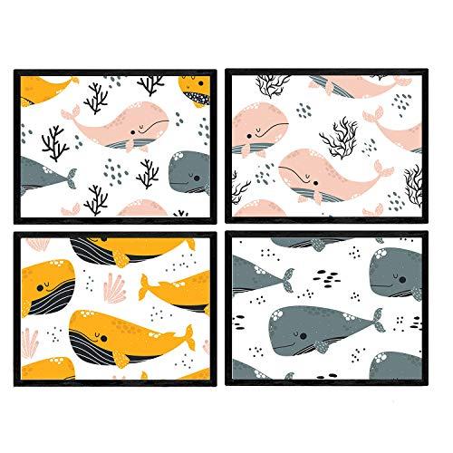 Pak vier posters met afbeeldingen van walvissen. Bladeren met kinderen foto's van walvissen. Roze, oranje grijze walvis. A3-formaat zonder lijst