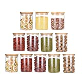 200ml Glass Jars with Bamboo Lids Set of 12, Air Tight Kitchen Food Cereal Storage Containers Clear Glass Preserving Seal Containers for Pasta Spaghetti Tea Coffee Beans Cookie Snack Flour