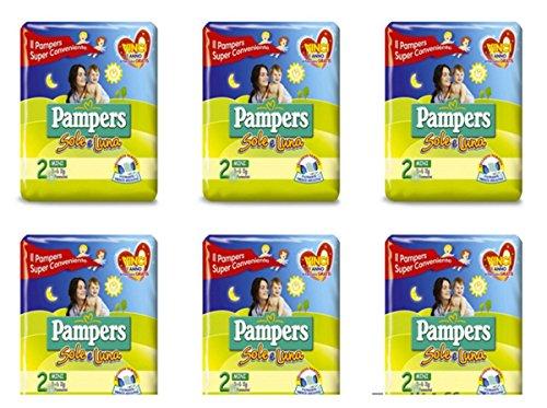 6 X Pampers Sonne und Luna taglia 2 Windeln für Kinder Maßnahme Mini Kleinkinder