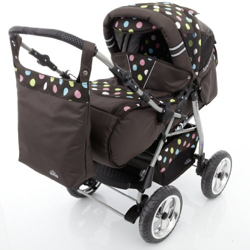 Chilly Kids iCaddy Kinderwagen Safety-Set (Autositz & ISOFIX Basis, Regenschutz, Moskitonetz, Getränketablett, Wickelunterlage) 50 Braun & Bunte Punkte
