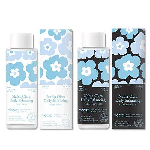 Nabia Balancing Facial Toner + Moisturizer Set with Tea tree and Okra complex. Scented with natural Tea Tree. Each 4.05 Fl Oz.
