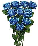 10 Piezas de Ramos de Flores Artificiales Azules, Rosas de F