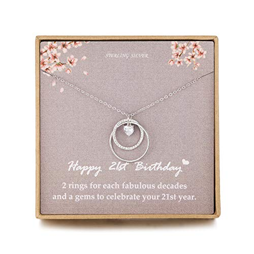 NOURISHLOV Birthday 21st Gifts for Her, Sterling Silver 2 Circle CZ Necklace Gift for Women,21 Year Old Gift,Best Friend or Daughter Birthday Gifts