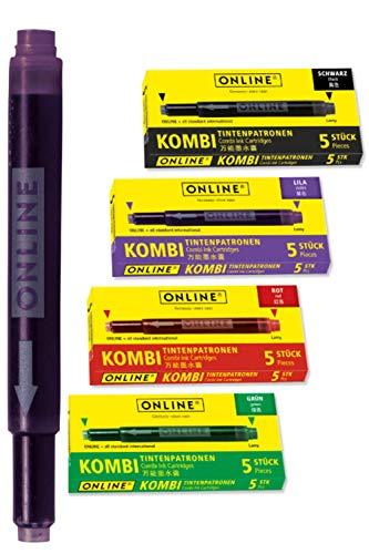 Online 20x Bunte Kombi-Tintenpatronen (Universal-Patronen, kompatibel mit Allen gängigen Füllern, auch Lamy-Füller, Ersatz-Patronen) 4er Pack rot, grün, schwarz, lila, Vorteilspack
