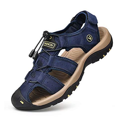 ZYLDK Sandalen Herren Leder Trekkingsandalen Outdoorschuhe Sommer Sport Freizeitschuhe Wanderschuhe MAnner Sport-Outdoor Wasser Fischer Atmungsaktive Sandale, Blau, 42 EU