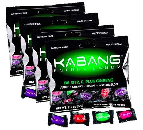 Kabang Energy Candy-4 Bags-Vitamins B12, B6 and Vitamin C, All Natural Energy Supplement (4-Pack)