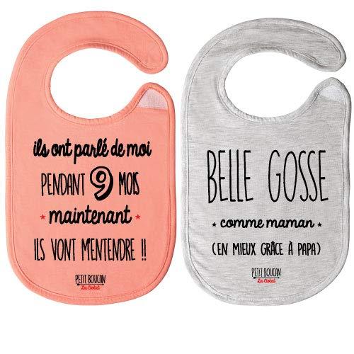 Petit Boucan - lot de 2 bavoirs bébé fille - 100% coton doux - doublé en éponge coton très absorbant (Saumon/Gris chiné)