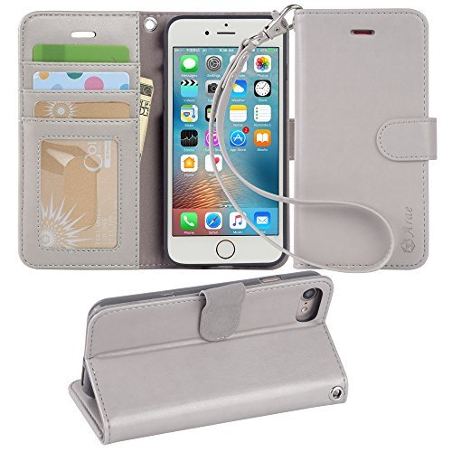 Arae Case for iPhone 6s / iPhone 6, Premium PU Leather Wallet case [Wrist Strap] Flip Folio [Kickstand Feature] with ID&Credit Card Pockets for iPhone 6s / 6 4.7 inch (Light Grey)