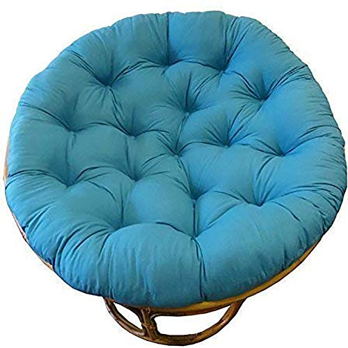 CAIXIN Papasan Silla Cojín,algodón Mullido Gruesas Redondo Acolchado del Asiento,cómodo Gran Reclinable Mimbre Colgante Huevo Sin Silla-Cielo Azul 120x120cm(47x47inch)