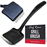 Kandu Kitchen Grill Brush and Scraper - Long 14 Inch Handle, Sharp Stainless Steel Scraper Blade, Strong BBQ Wire Bristles - Makes A Great Gift for All Grill Types