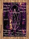 ABAKUHAUS Sagrado Alfombra de Área, El Hombre De Vitruvio Símbolo Oculto, Tejido Durable Decoración para Cualquier Ambiente, 120 x 180 cm, Púrpura