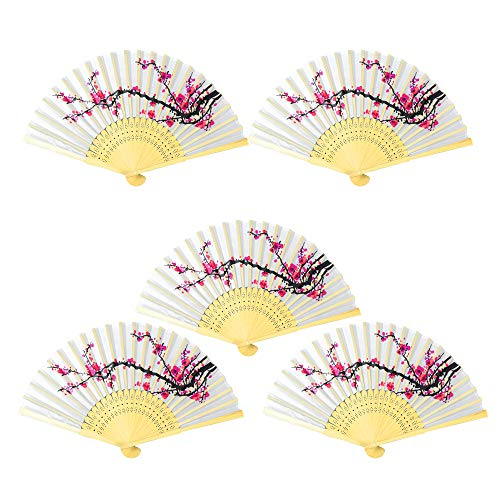 Onepine 5pcs Folding Fans Handheld Delicate Cherry Blossom Design Silk Folding Fan Bamboo Folded Fan Girls, Ladies, Church Wedding Gift, Party Favors, DIY Decoration