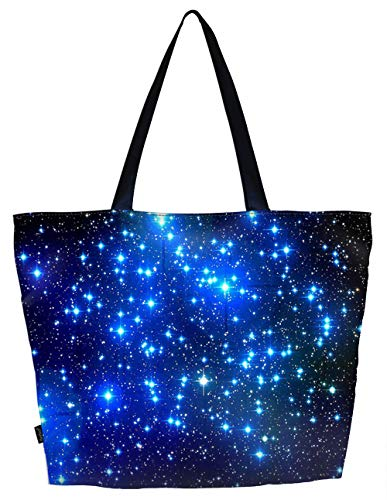 Lightweight Travel Beach Tote Bag Foldable Reusable Shopping Shoulder Hand Bag - Galaxy Stars, Large