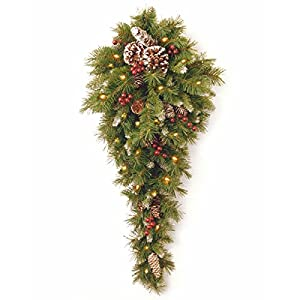 National Tree Company Pre-lit Artificial Christmas Teardrop Flocked with Mixed Decorations and White LED Lights, 3 ft, Frosted Berry