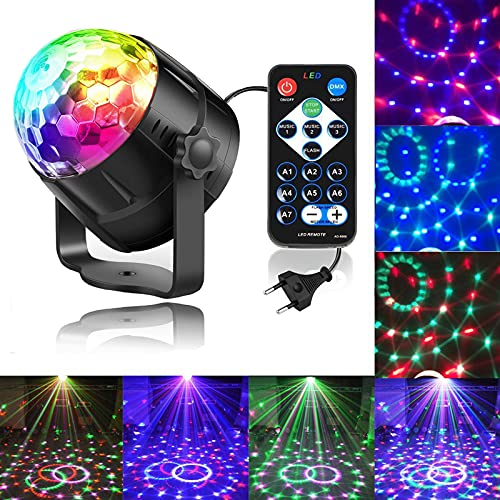 Zacfton LED Lichteffekte Disco Licht Party Licht Bühnenbeleuchtung 3W RGB Sprachaktiviertes Kristall Magic Ball Bühnenlicht für KTV Hochzeits-Show Club Pub Farbe ändern Beleuchtung mit Fernbedienung