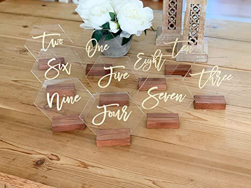 Zeshoek tabel nummer acryl bruiloft tabel nummer geometrisch bruiloft tafel Decor plexiglas tabel nummer moderne bruiloften