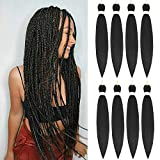 Pre Stretched Braiding Hair 8 Packs Black Braiding Hair 26 Inch Easy...