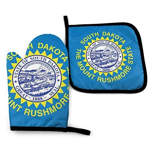 shenguang South Dakota SD State Flags Hitzebeständige Ofenhandschuhe und Topflappen für küchenweiches Baumwollfutter mit rutschfester Oberfläche für sicheres Grillen Kochen Backen Grillen, m