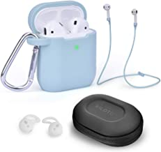 Airpods Accessories Set, Filoto Airpods Waterproof Silicone Case Cover with Keychain/Strap/Earhooks/Accessories Storage Travel Box for Apple Airpod 2&1(Light Blue)