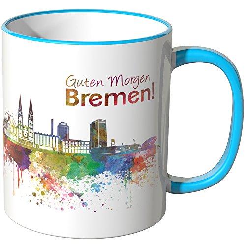 WANDKINGS® Tasse, Schriftzug Guten Morgen Bremen! mit Skyline - BLAU