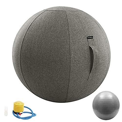 Joywell Sitting Ball Chair for Office, Dorm and Home, Stability and Fitness, Lightweight Self-Standing Ergonomic Posture Activating Exercise Ball with Handle & Cover, Classroom & Yoga, 65cm, Grey