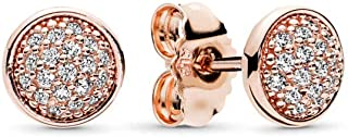 PANDORA Jewelry - Pavé Stud Earrings for Women in PANDORA Rose and Sterling Silver with Clear Cubic Zirconia