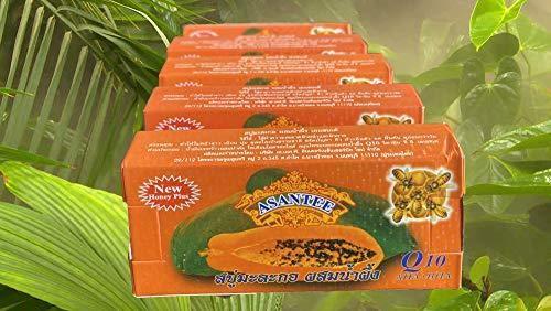 Asantee New Honey Plus Thai Papaya Lightening Herbal Soap (Pack of 5)…
