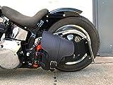 Orletanos Ade Black Altalena Sacchetto Compatibile con Harley Davidson Softail Braccio Oscillante HD Nero Portabibite Borsa pelle Moto Fatboy Heritage Vera Slim Telaio a Stella