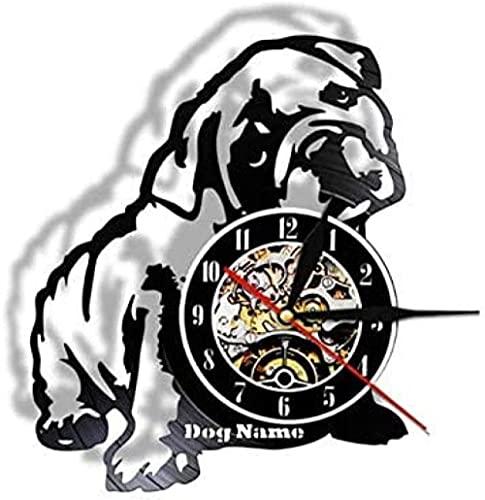BBZZL Reloj de Pared de Bulldog inglés de Navidad Reloj de Pared para Cachorros Decoración para el...