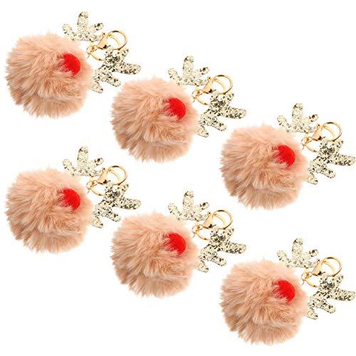 KESYOO 6Pcs Encantos de Llavero de Navidad Bola de Piel Pom Pom Llavero Llavero de Reno Llavero de Coche Bolso Bolso de Mano Encanto Regalos de Fiesta de Navidad (Color Carne)