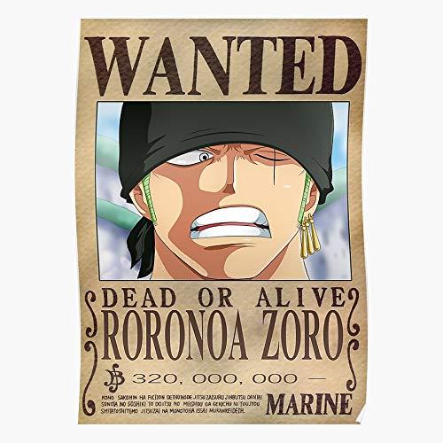Zorro Grand Wanted Roronoa Anime Onepiece Fanart Manga Line Impressive and Trendy Poster Print Decor Wall or Desk Mount Options