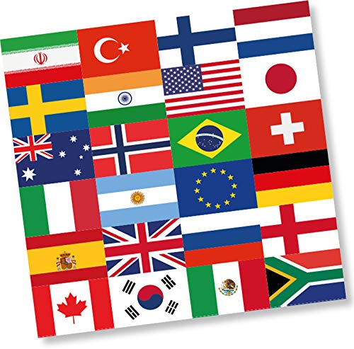 DH-Konzept 20 Servietten * FLAGGEN Welt * für EM 2020-Party und Geburtstag | Länder Erde Fahnen WM 2022 Mottoparty Napkins Papierservietten