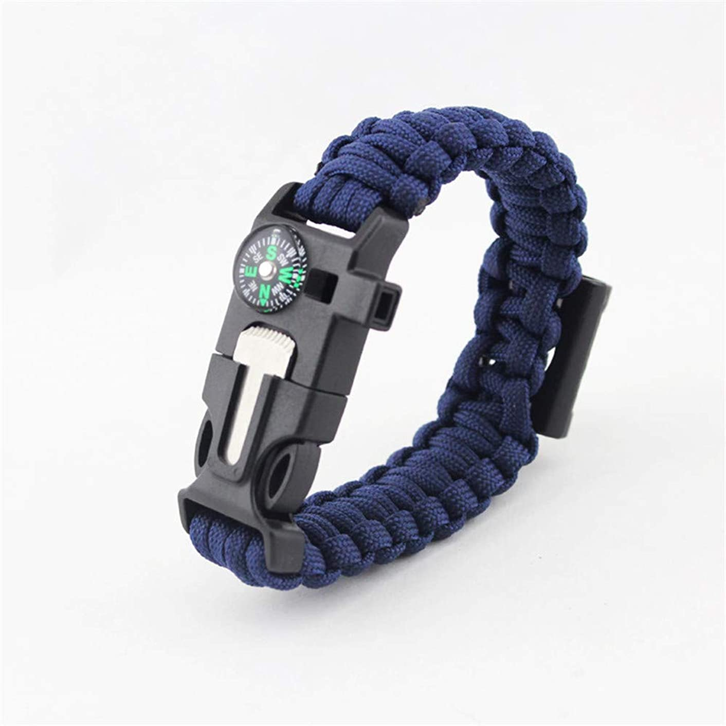 Multifunctional Outdoor Emergency Gear, Woven Nylon Rope Paracord Bracelet with Compass, Flint Fire Starter, Scraper, Whistle, Camping Hiking Adventure Survival Kit
