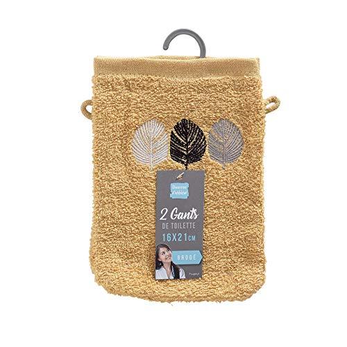 douceur d'intérieur 2 gants de toilette 16x21 cm eponge brodee fougerys jaune