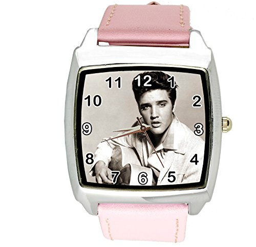 taport® Elvis Presley Music Legend Quarz Square Armbanduhr Pink Echt Leder Band E4Zifferblatt + Gratis Ersatz Batterie + Gratis Geschenkverpackung