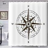 TERSUM Compass Shower Curtain Gray Nautical Theme Treasure Hunt Pocket Watch Shower Curtain, Machine Washable Fabric Home Bathroom Privacy Decor Set with Hooks, 70x72inch YLHXTE361
