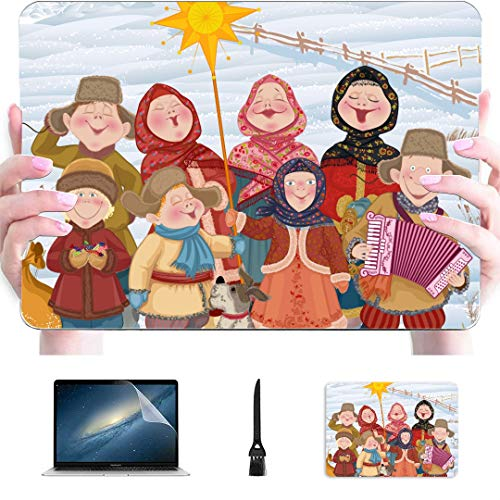 Macbook Pro 2015 Case Young People Children Russian Village Singing Plastic Hard Shell Compatible Mac 15 Inch Laptop Cover Protection Accessories For Macbook With Mouse Pad