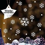 Wandtattoo-Loft Fensteraufkleber Schneeflocken und Punkte - WIEDERVERWENDBAR – 50 STK. Aufkleber im Set in der Farbe Weiss - konturgeschnitten ohne Hintergrundfolie