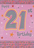 Silver Foil 21 on Pink with Stars: 21st - Designer Greetings Birthday Card