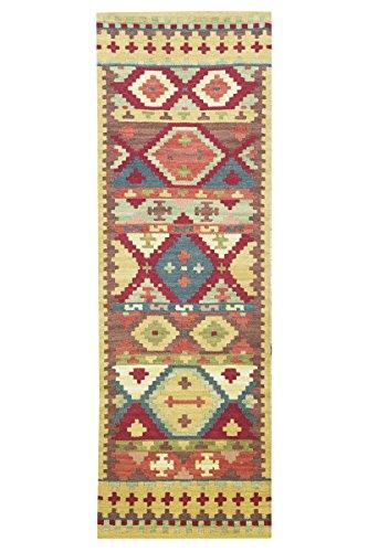 Jute & Co. Tappeto, Passatoia Kilim Originale di Alta qualità Tessuto a Mano, Lana, Multicolore, 183x61x0.50 cm