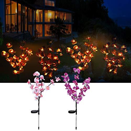 Surebuy Luces Decorativas, IP44 Bent At Will Lámpara de orquídea LED Luz de energía Solar para Entrada de balcón, Terraza para decoración de jardín