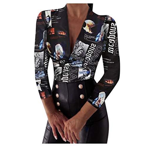 MERICAL Womens Benda Moda Camicetta di Modo Stampa T-Shirt Blouse Tops