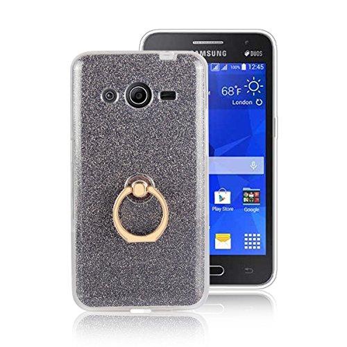 pinlu® Etui Schutzhülle Für Samsung Galaxy Core 2 / Core 2 Duos (G355H, 4.5 Zoll) Soft Silikon TPU Ultra Thin Protective Cover Glitzer Rück mit Abnehmbarer Boden Skin und Ring-Schnalle Design Schwarz