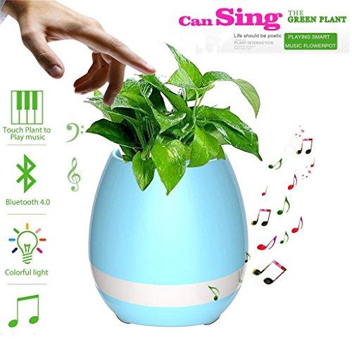 HMILYDYK Muziek Bloem Pot Smart Touch Muziek Plant Spelen Piano Muziek Draadloze Bluetooth Speaker Oplaadbare Kleur LED Nachtlampje voor Office Thuis Party Decor