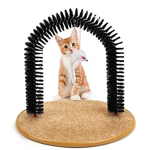 Peluquero para Gatos 3 En 1 Arco Gato Autosuficiente - Función De Un Masajeador De Autoservicio De Gato, Tablero De Raspador De Gato Y Juguete De Gato ✅