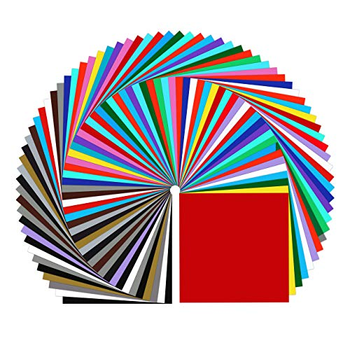 IModeur Permanent Adhesive Vinyl Sheets (72 Packs, 12'x12') - 23 Assorted Colors Vinyl Sheet (Matte & Glossy) for Most Kinds of Weeding Machines, Printers, Car Decal, Decor Sticker