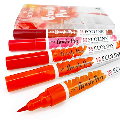 Royal Talens - Ecoline Liquid Watercolour Drawing Painting Brush Pens - Set of 5 in Plastic Wallet - Red