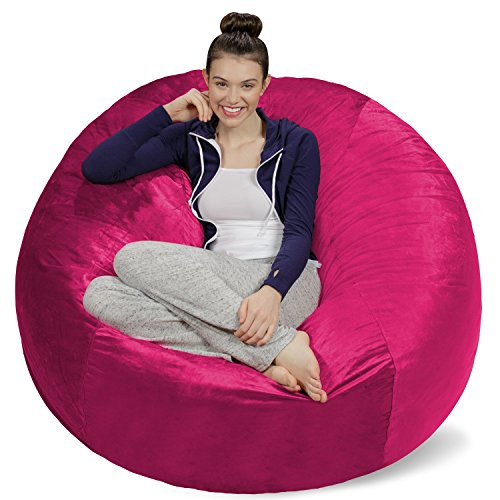 Sofa Sack - Plush Ultra Soft Bean Bags Chairs for Kids, Teens, Adults - Memory Foam Beanless Bag Chair with Microsuede Cover - Foam Filled Furniture for Dorm Room - Magenta 5'